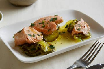 Poached Trout with Pickled Cucumbers