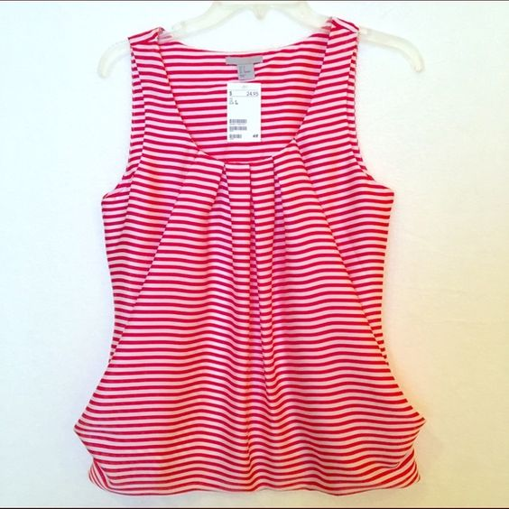 H&M - Striped Tank Top Red and white striped, pleated collar bubble tank, never been worn H&M Tops Tank Tops