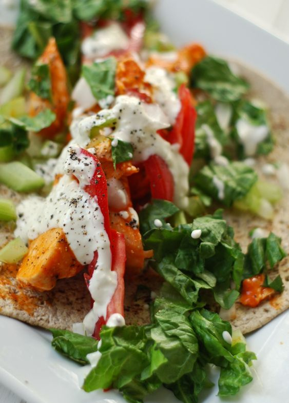 Grilled Buffalo Chicken Wraps with a Creamy Blue Cheese Dressing via ...