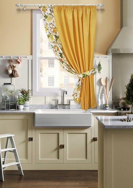Ассиметричные шторы для кухни (17 фото): на одну сторону окна, удачные идеи