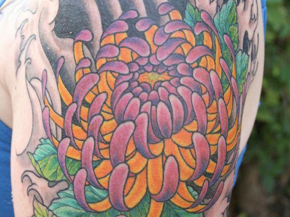 Purple And Yellow Chrysanthemum Flower Tattoos Beautiful