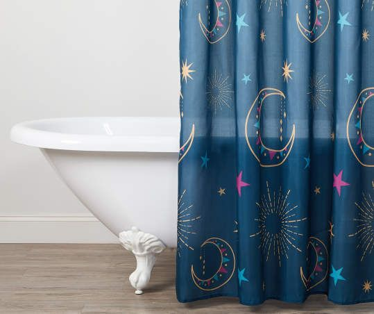 Celestial Fabric Shower Curtain Hooks Set In 2020 Fabric