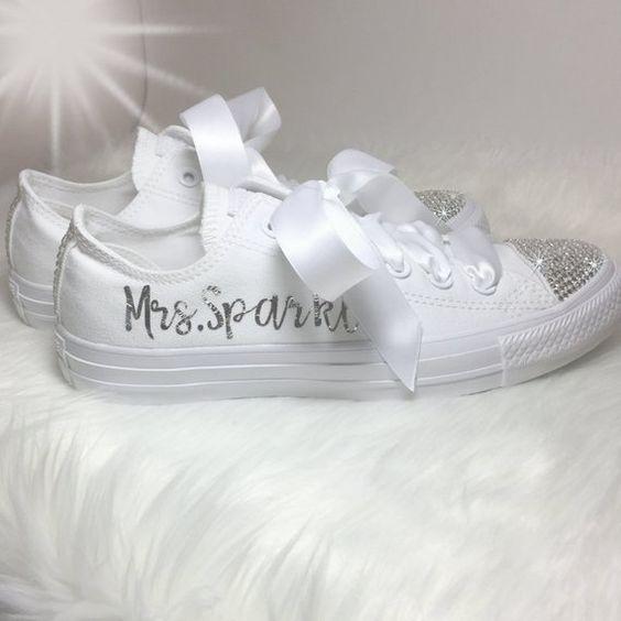 Wedding Converse Swarovski Personalized Converse  Bling Converse All Star Custom Chucks Bedazzled Ch