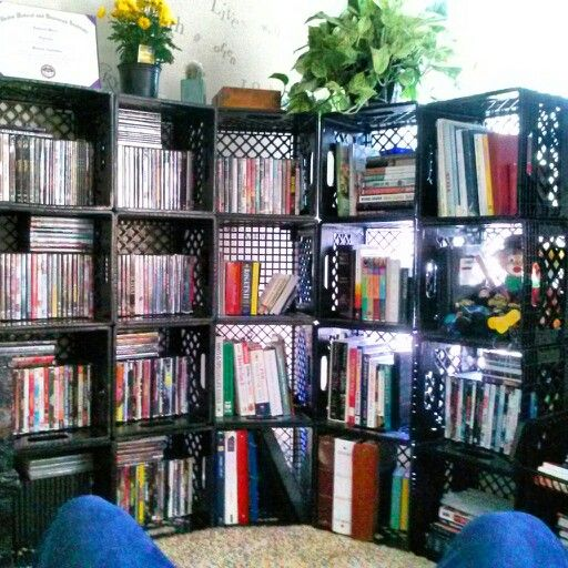 do it yourself bookshelf get milk crates from local