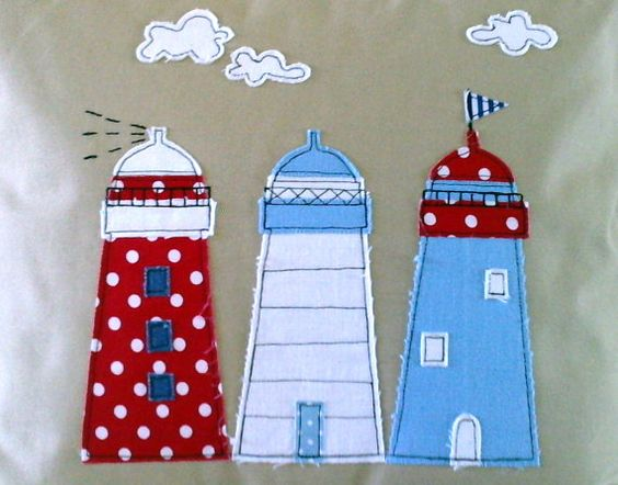 Lighthouse applique cushion cover in natural by mojosewsew on Etsy: