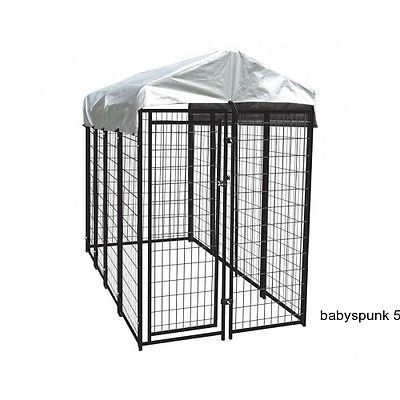 Outdoor Dog Kennel Covered Runs Cage Crate Pet Playpen Metal Runner Fence Huge
