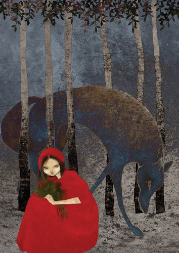 from Grimms' Fairy Tales by Marija Jevtic// as it is very dark, the first think that we see is little red riding hood, who stands out. The trees are small talk and very thin, which makes the wolf look even bigger and powerful.