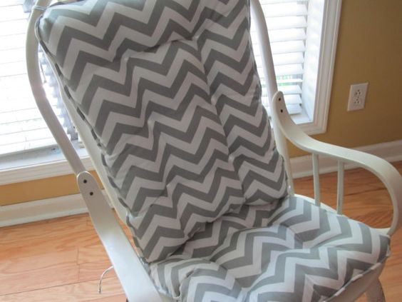 Tufted Rocking Chair Cushion In Grey Chevron For Dining