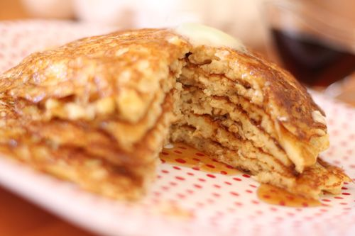 melt-in-your-mouth oatmeal buttermilk pancake recipe: They are an amazing recipe for making for a crowd. Keep them piled up warming in the oven and they come out still tasting amazing. so amazing.