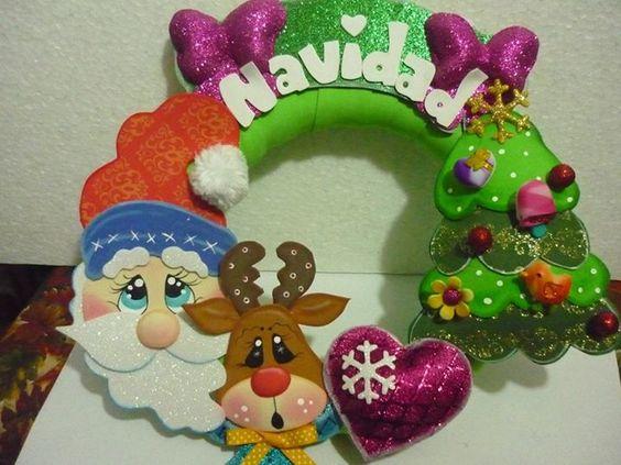 Navidad corona and noel on pinterest - Cosas de goma eva ...