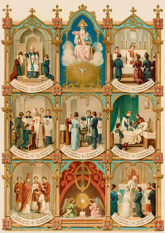 Seven sacraments. I truly love how clear these old holy cards and pictures used to be: we can see here that the Sacraments are the action of the Holy Spirit of God working through matter. Why have we shied away from the basic Catholic belief that we are not matter or spirit, but matter AND spirit?: Coisas Católicas, Catholic, Igrejas Católicas, Roman Catholic, Fé Católica