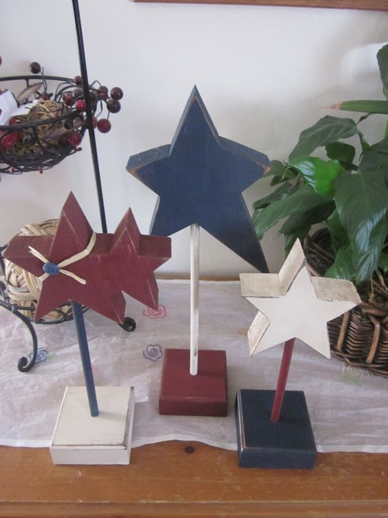 Trio of wood stars americana wood block set home decor Stars and stripes home decor