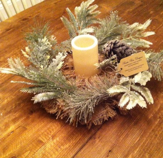 Beautiful Rustic Holiday/Winter Centerpiece by RusticRoseD on Etsy