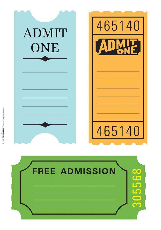 Free Printable Admit One Ticket Templates – Printable Ticket Paper