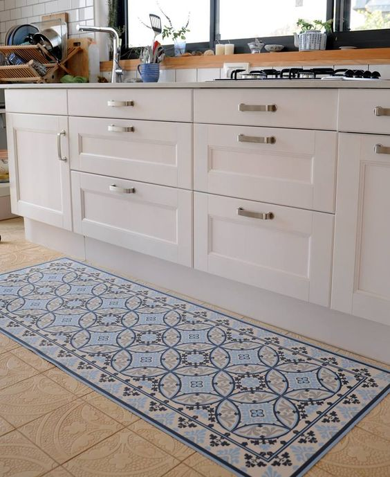 Vinyl Floor Mat Kitchen Mat With Tile Design In Turquoise: Models And Barcelona On Pinterest