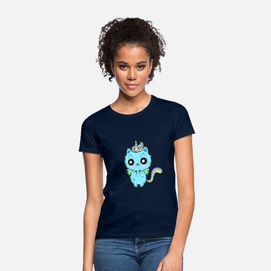 Einhorn Katze Mit Glubschaugen Frauen T Shirt Schwarz Frauen T Shirts Shirts Katzen Frauen