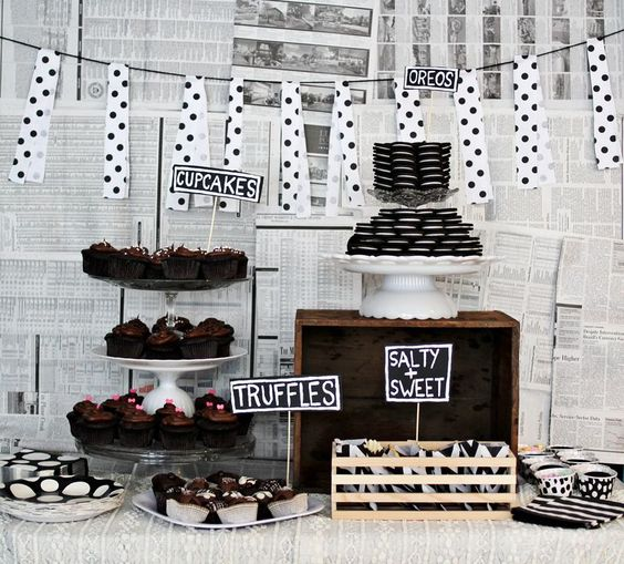 chocolate themed party table.