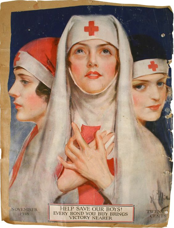 """WWI nurses poster, """"Help Save Our Boys"""" - encouraging people to buy bonds, November 1918."""