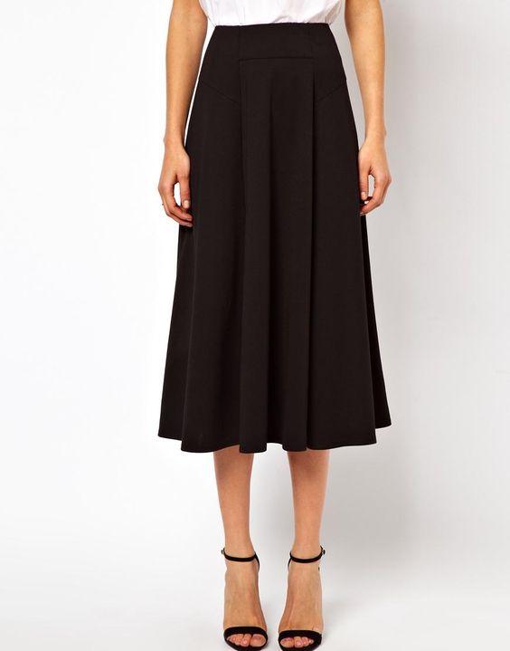 ASOS | ASOS Midi Skirt with Stitch Waist Detail at ASOS