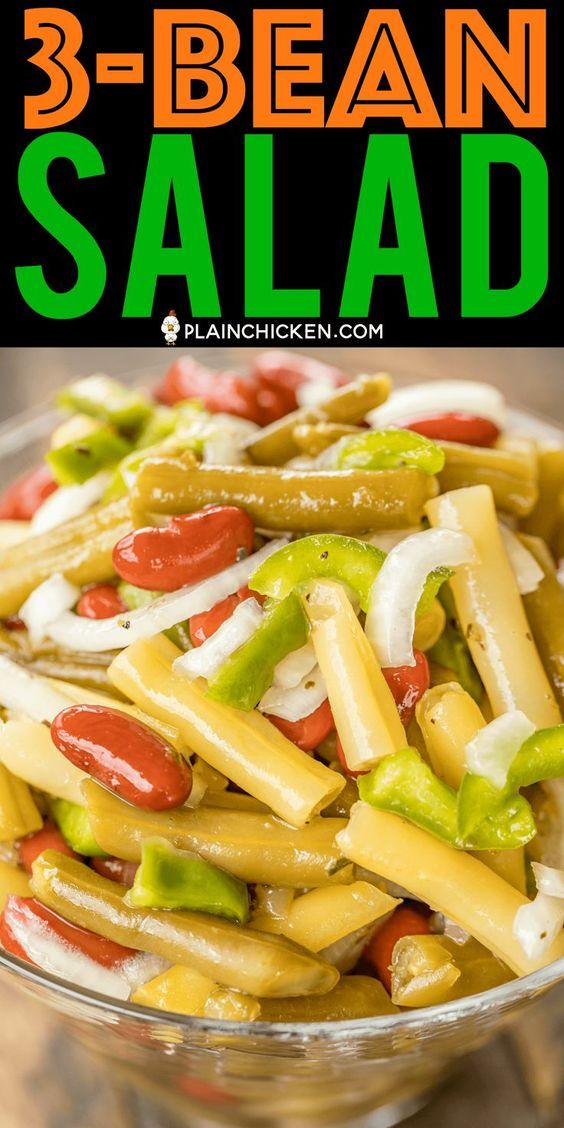 Three Bean Salad So Quick And Delicious Green Beans Yellow Wax Beans Kidney Beans Vidalia Onion Green Bell P In 2020 Bean Salad Recipes Bean Recipes Bean Salad