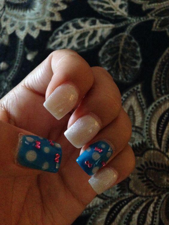 White glitter polka dot nails pink bows