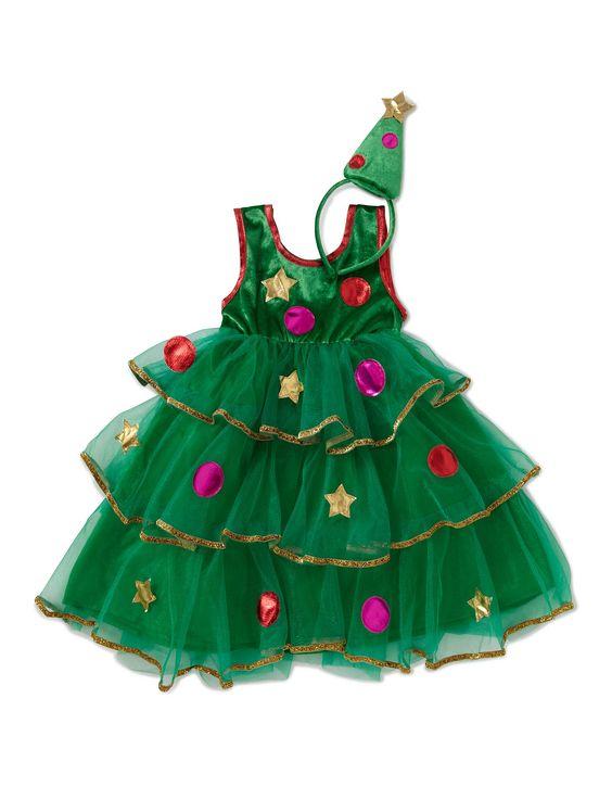 christmas tree fancy dress costume girls george at. Black Bedroom Furniture Sets. Home Design Ideas