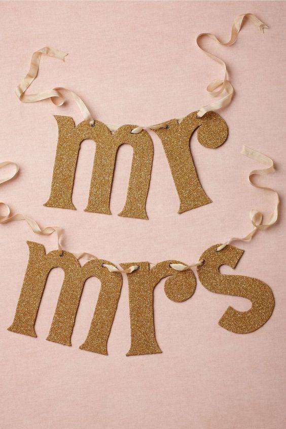 Napis girlanda: Wedding Decoration, Wedding Inspiration, Wedding Ideas, Chair Banner, Gold Wedding