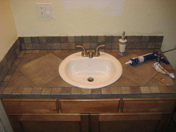 Bathroom vanity tile countertop | My projects | Pinterest | Copper ...
