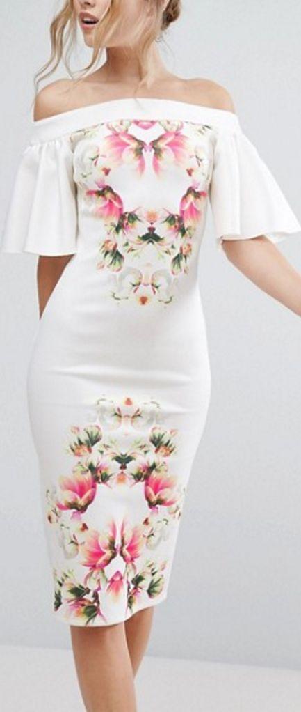 off the shoulder print dress