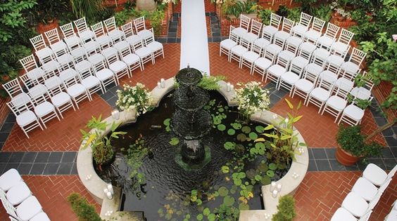 Wedding setup in the courtyard at the Royal Sonesta Hotel New Orleans.