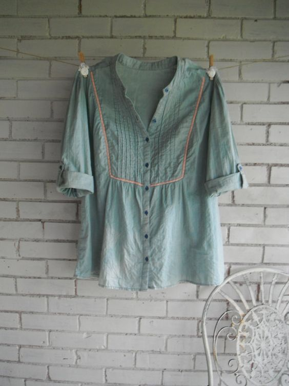 bohemian blouse faded denim look blouse hippie by ShabbyRoad