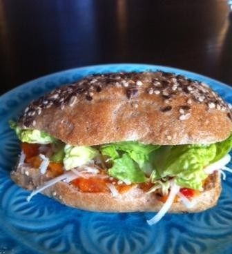 Sandwich with home made chili and bell pepper chutney, Manchego cheese and lettuce. Hmmm...