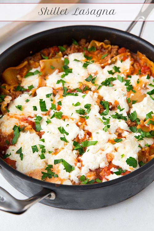Skillet Lasagna - we liked this lasagna just as much as an oven baked version and it's made in half the time! Less mess too!