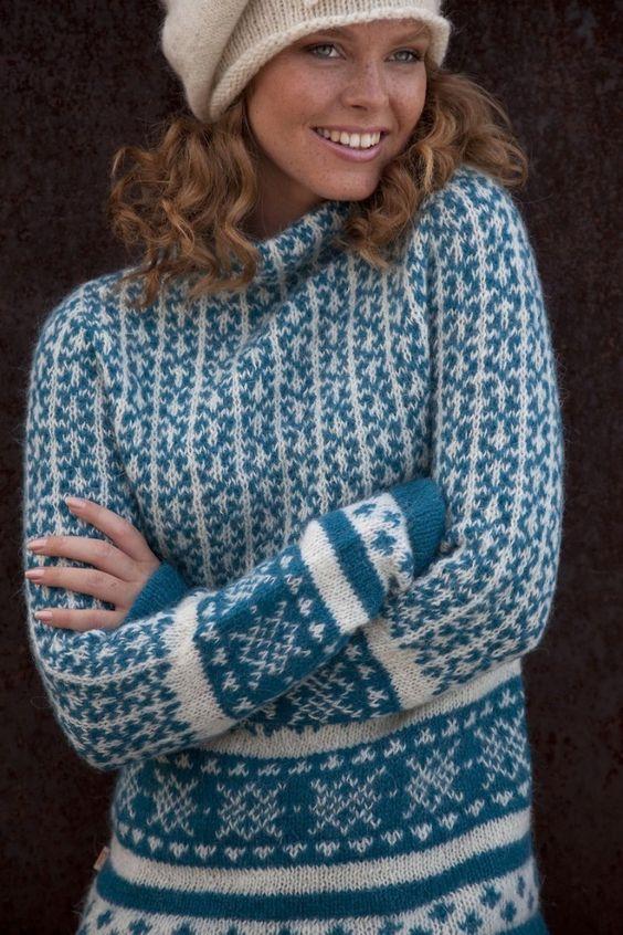 Faroese Jumper Knitting Patterns : The Island Wool Company- Faroese By Design - Nordic By Nature - Sirri Sea Jum...