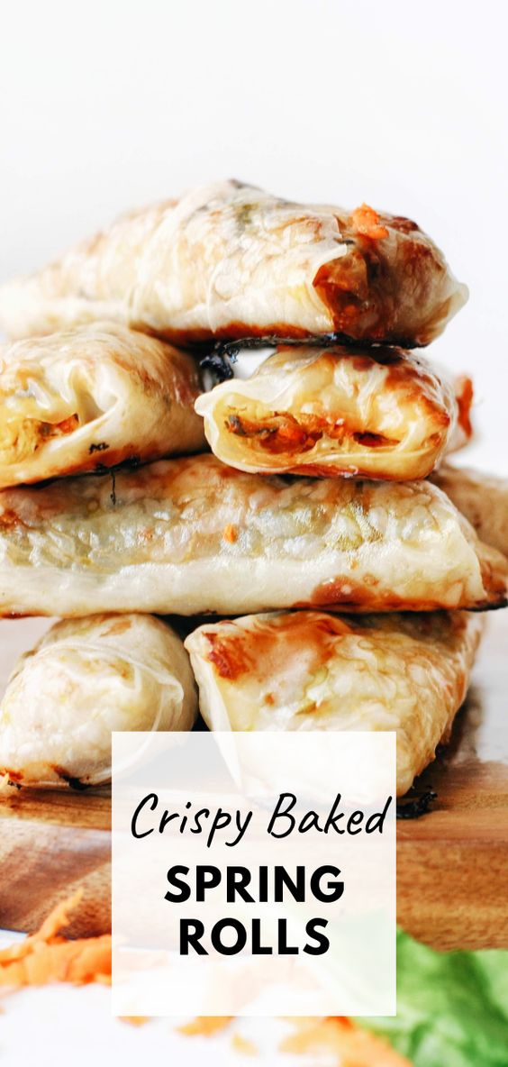 Baked Spring Rolls with Chicken and Spinach