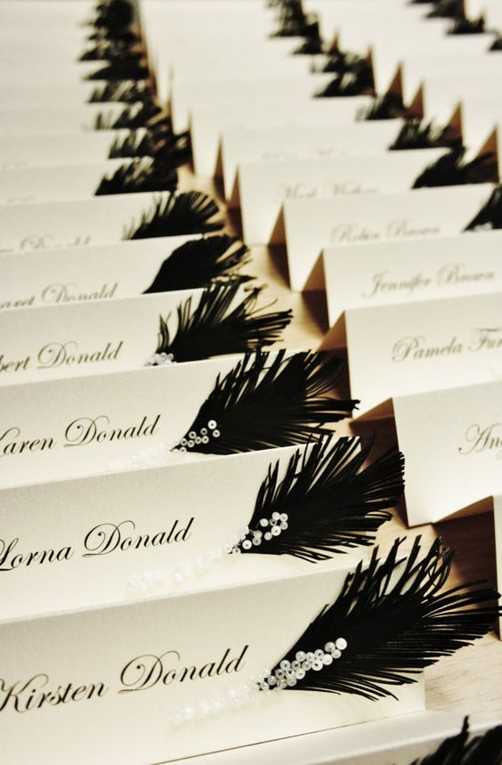 Wedding place cards Black & White feather and glass by liradesigne, €2.00:
