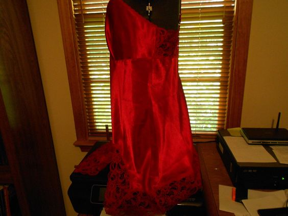 Delicates Red Lingerie Gown Lace Polyester Adjustable Straps Medium | eBay