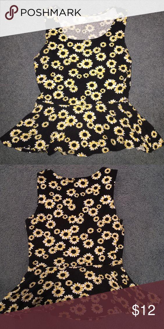 Sunflower Peplum Shirt Super cute sunflower peplum shirt. Soft cotton for a casual stylish look. Tops