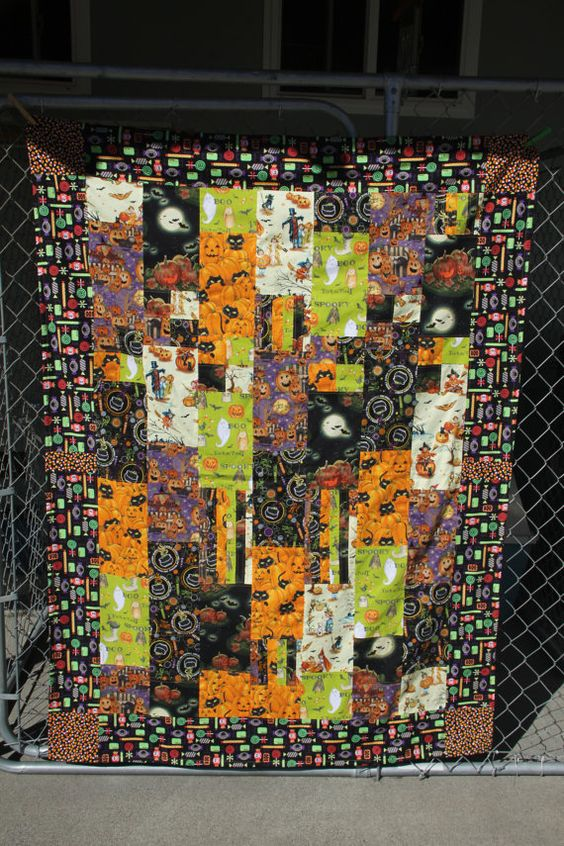 Happy Halloween Blanket by PatchworksByAlicia on Etsy, $135.00