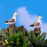 Estilo mediterrâneo bonito Gaivota pássaro mini resina artesanato presente gnomo de jardim de fadas em miniatura bonsai musgo terrário decoração para a casa