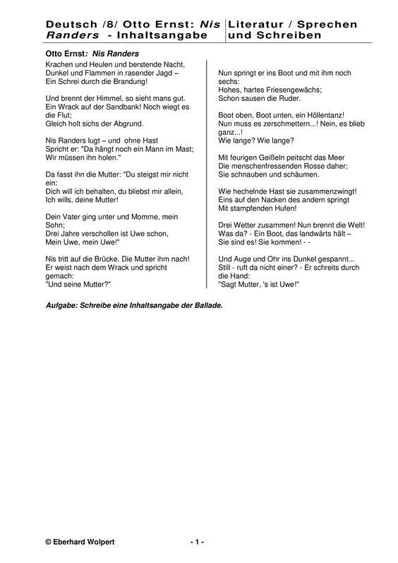 Ballade Text Und Inhaltsangabe Otto Ernst Nis Randers Unterrichtsmaterial Im Fach Deutsch Inhaltsangabe Klassenarbeiten Unterrichtsmaterial