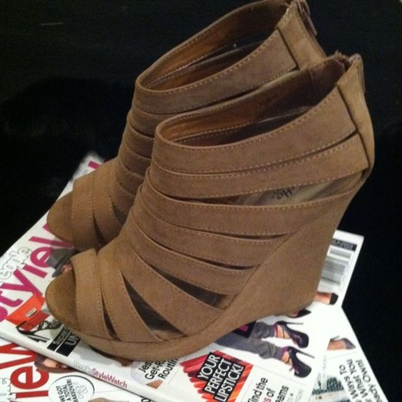 Taupe/tan wedges Charlotte Russe 5inch platform wedges! Charlotte Russe Shoes