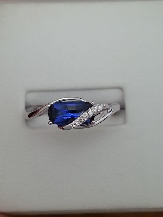 14kt WG Ring 9x4.5mm Antique Cushion Cut Blue Sapphire 1.24cts, Diamonds .04cttw. $950.00
