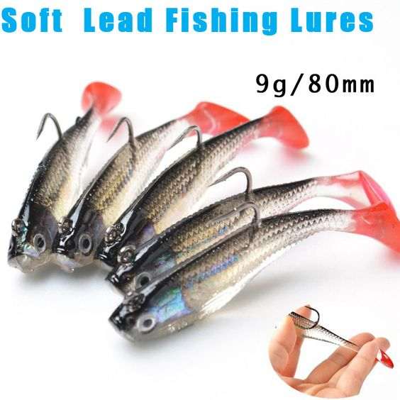 3d eyes lead softbait 5 fishing lures with t-tail action - buy one, Fishing Reels