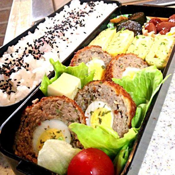 今週も頑張りましょう( ´ ▽ ` )ノ - 144件のもぐもぐ - 6/10 スコッチエッグ弁当 by chieko ♪