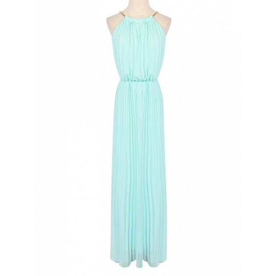 Choies Mint Green Pink Cut Away Pleated Chiffon Maxi Dress (£22) ❤ liked on Polyvore featuring dresses, green, mint chiffon dresses, green maxi dress, green chiffon dress, maxi dress and white dresses