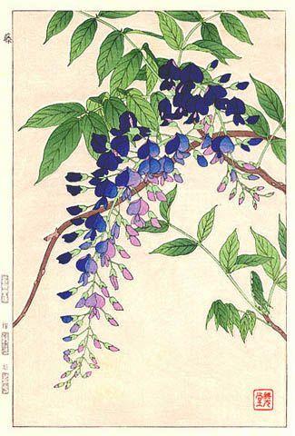 Wisteria, Blue, by Kawarazaki Shodo (published by Unsodo)::