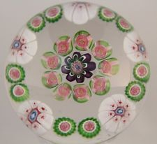 ANTIQUE Gorgeous CLICHY 9 Mini ROSES Concentric MILLEFIORI Art Glass PAPERWEIGHT