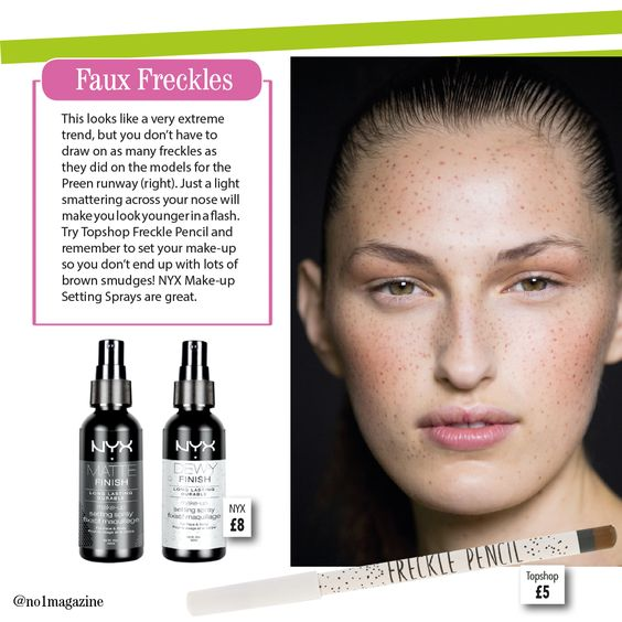 Are you brave enough for the faux freckle trend? Try it with Toyshop's freckle pencil and NYX Make-up Setting Spray. #no1magazine #scotland #topshop #NYX #beauty