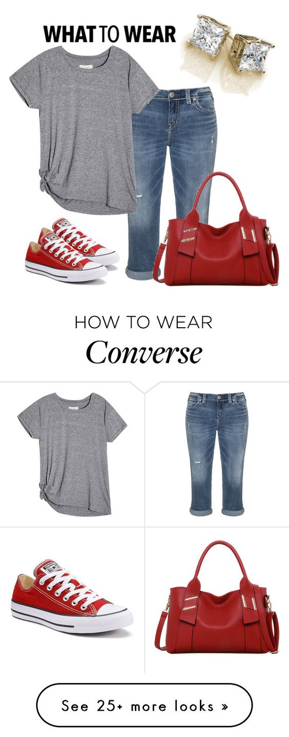 """""""Untitled #379"""" by sylvia-tall on Polyvore featuring Silver Jeans Co., Converse and LineShow"""